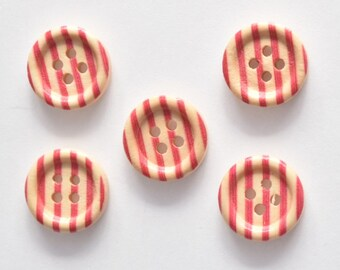 Red Stripe Button - Wood Button - Shankless 15mm Button - 4 Hole Button - Red Button - Round Buttons - Scrapbooking, Cardmaking, Paper Craft