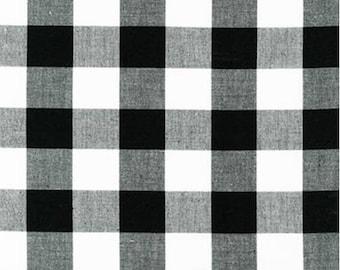 Black and White Plaid Cotton Fabric by the Yard - Robert Kaufman - Carolina Gingham 2'' BLACK, Gingham Quilting Fabric