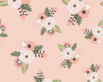 Modern Floral Cotton Fabric by the Yard, Riley Blake Designs, Blush Rose Gold Glitter Modern Farmhouse by Simple Simon Co
