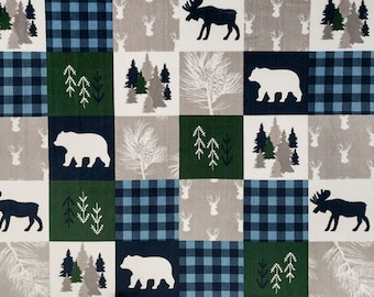 Cabin Quilt Minky Fabric by the Yard, Woodland Fabric, Green Fabric, Navy Blue Fabric, Deer Fabric, Bear Fabric, Faux Fur Fabric