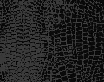 Crocodile Animal Print Cotton Fabric by the Yard, Riley Blake Designs, Animal Kingdom Quilting Fabric, Black and Gray