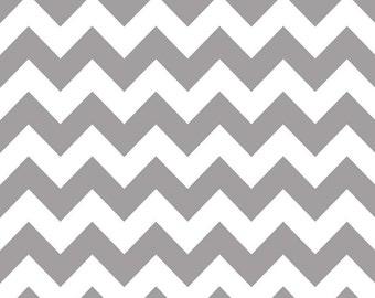 Grey Chevron Fabric - Grey Cotton Fabric Riley Blake Designs - Gray Fabric - Riley Blake Basics - Cotton Chevron Grey and White