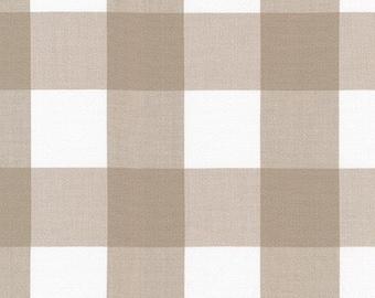 Tan Buffalo Plaid Cotton Fabric by the Yard, Robert Kaufman 2'' Gingham Quilting Fabric, Kitchen Window Wovens