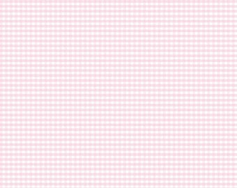 Pink and White Plaid Cotton Fabric by the Yard, Robert Kaufman, 1/8 inch Baby Pink, Woven with Print on Both Sides