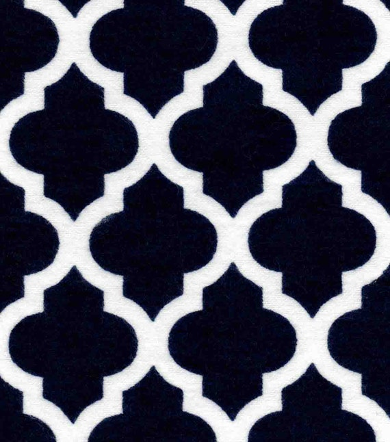 Quatrefoil Navy Blue Flannel By The Yard Moroccan Tile