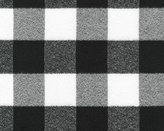 Black and White Plaid Cotton Flannel Fabric, Robert Kaufman, Mammoth Flannel