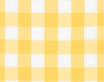 Yellow and White Plaid Cotton Fabric- Robert Kaufman Carolina Gingham 1'', Plaid by the Yard, Sunflower and White Gingham Quilting Fabric