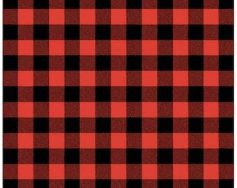 Red and Black Plaid Cotton Fabric - Robert Kaufman - Carolina Gingham 1'' Scarlet- Plaid by the Yard- Red and Black Gingham Quilting Fabric