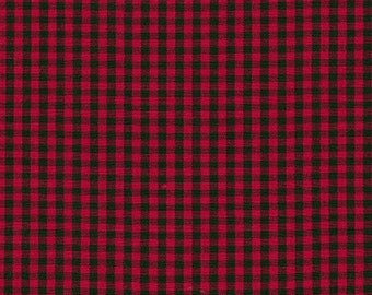 Red and Black Plaid Cotton Fabric by the yard by Robert Kaufman - Carolina Gingham 1/8'' Scarlet Quilting Fabric