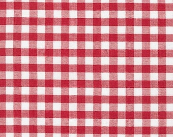 Red and White Plaid Cotton Fabric by the Yard, Robert Kaufman Carolina Gingham 1/4'' Quilting Fabric