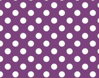 Medium Dot Purple by Riley Blake Designs - c360 125 Purple Fabric by the Yard Polka Dot Fabric- Purple and White Dot Fabric- Quilting Cotton