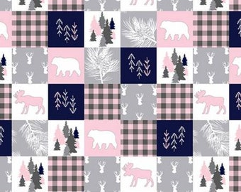 Cabin Quilt Minky Fabric by the Yard, Woodland Fabric, Blush Pink Fabric, Moose Fabric, Deer Fabric, Bear Fabric,Faux Fur Fabric