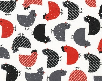 Cotton Fabric by the Yard, Chicken Fabric, Red, Black and White Farm Fabric by Ann Kelle for Urban Zoologie