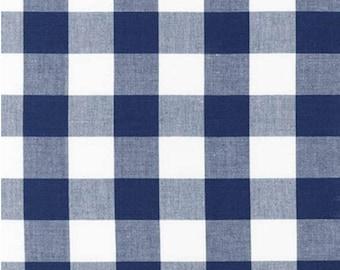 Navy Blue and White Plaid Cotton Fabric- Robert Kaufman Carolina Gingham 1'' Navy- Plaid by the Yard- Blue and White Gingham Quilting Fabric
