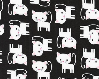Kitten Cotton Fabric by the Yard, Cat Cotton Fabric, Pink Cotton Fabric, Black and White by Ann Kelle for Urban Zoologie