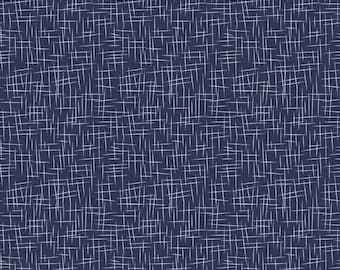 Navy Blue Hashtag Cotton Fabric by the Yard - Dark Blue and White Quilting Material by Riley Blake Designs