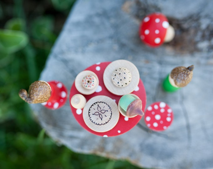Fairy garden table set, small world play, wood toy