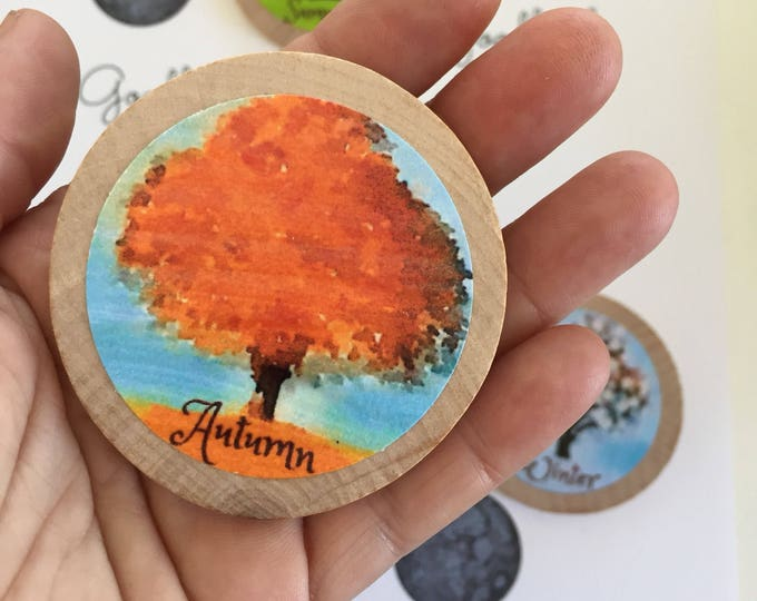 Seasons magnets, original artwork on hardwood discs