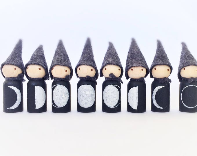 Moon Gnomes, lunar phases dolls with wool hats