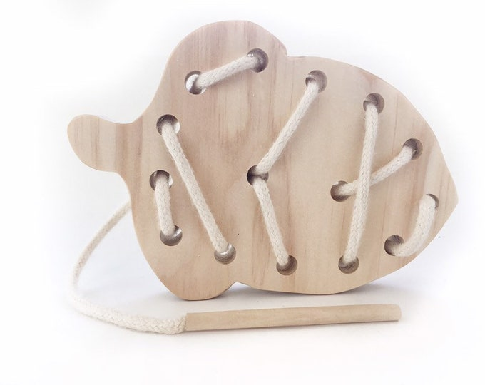 Lacing Toy, wood acorn with organic cotton cord
