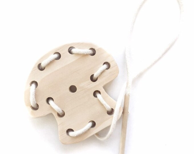 Lacing Toy, wood mushroom with organic cotton cord