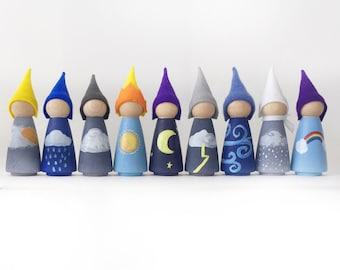 Weather gnomes, Waldorf weather dolls, Montessori weather toy
