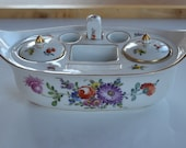 Antique 19th century European hand painted porcelain inkwell desk set with colorful floral design and gold trim