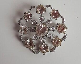 Vintage Snowflake Brooch Silver Metal /& White Rhinestones # 372