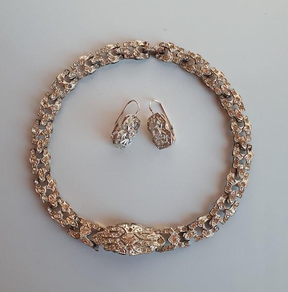 ART DECO Vintage silver metal clear rhinestones je