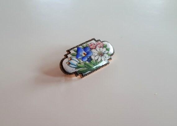 Antique Victorian hand painted enamel flower bouqu