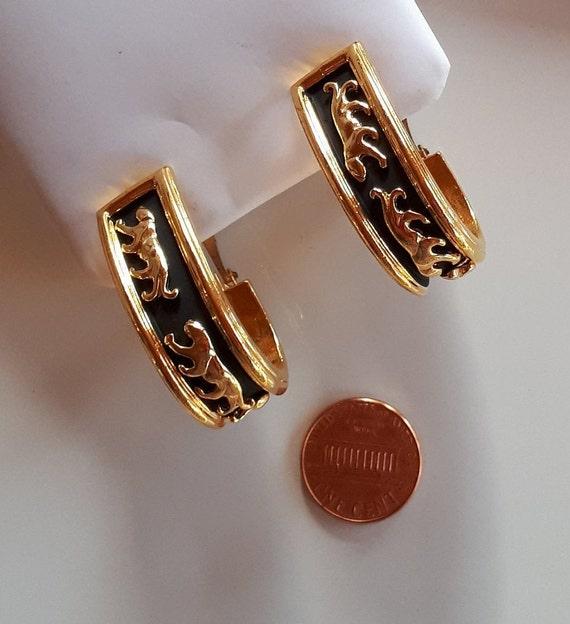 Vintage Designer Couture gold metal panthers on b… - image 5