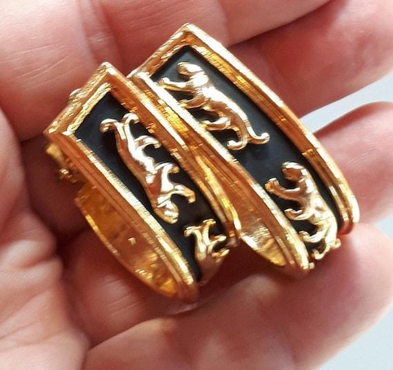 Vintage Designer Couture gold metal panthers on b… - image 7