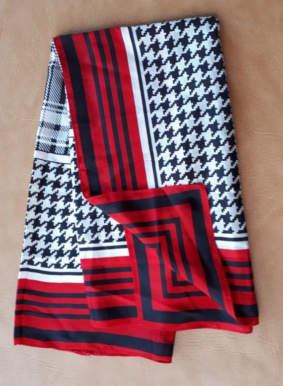Big newer worn Vintage fine silk square scarf red… - image 4