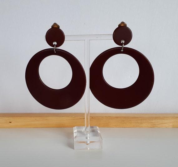 RUNWAY brown BAKELITE hoop dangle clip earrings, v