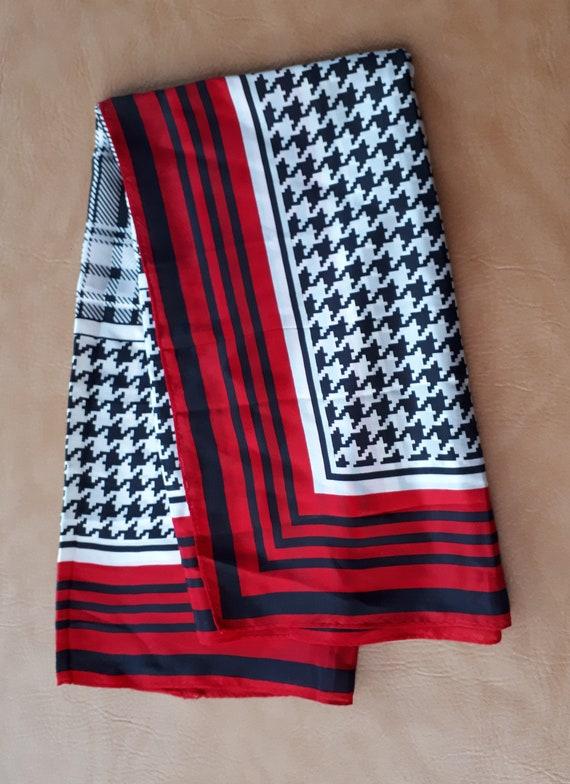 Big newer worn Vintage fine silk square scarf red… - image 3