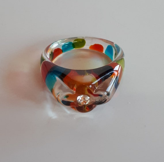 Clear lucite ring with multicolor dots and rhinest
