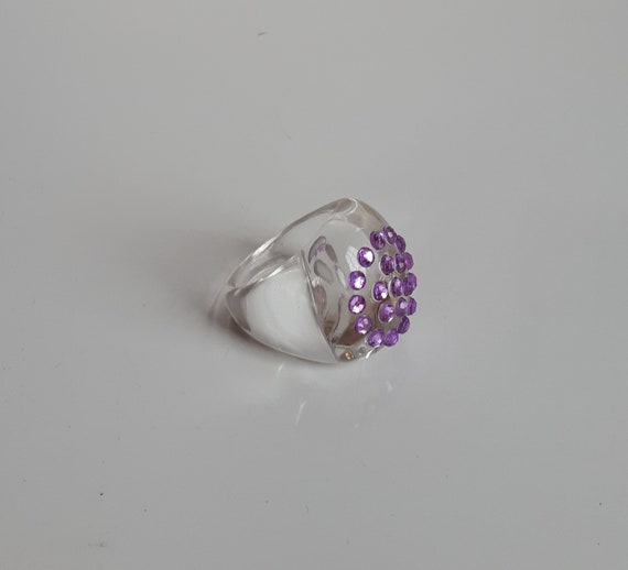 Chunky clear lucite plastic encrusted lavender rhi