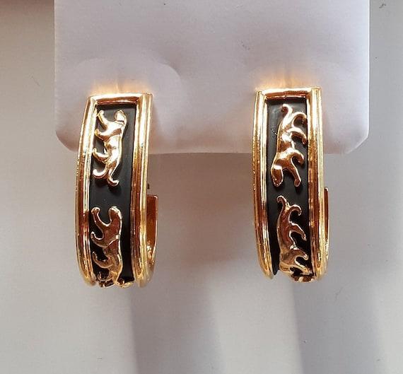 Vintage Designer Couture gold metal panthers on b… - image 2