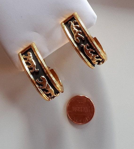 Vintage Designer Couture gold metal panthers on b… - image 3