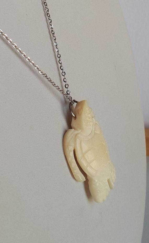 Vintage Hand Carved Bovine Bone Turtle Pendant Necklace Etsy