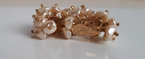 Faux pearl cluster hoop earrings, Statement vinta… - image 2