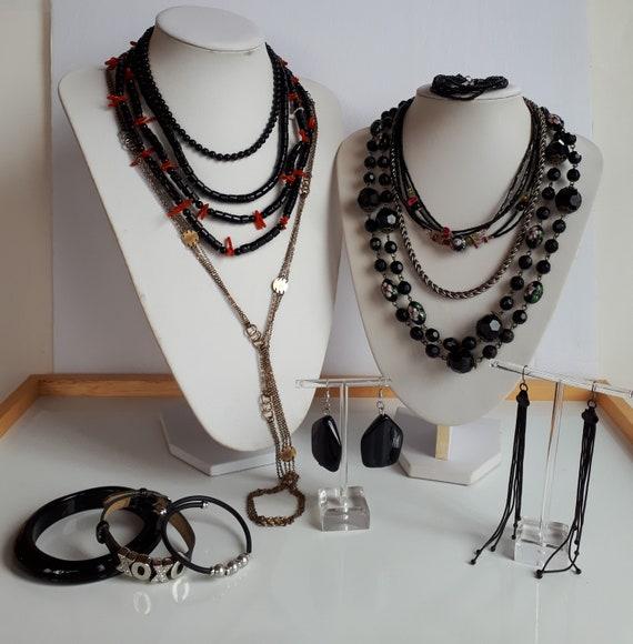Destash black red accent Bohemian jewelry lot Vint