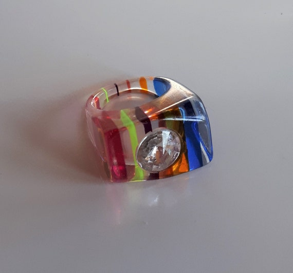 Clear lucite striped ring, Chunky all rainbow colo