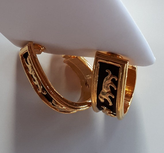 Vintage Designer Couture gold metal panthers on b… - image 6