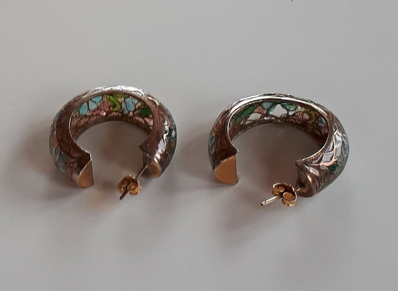 RARE big Vintage Chinese export gold plated sterling silver plique a jour hoop pierced Earrings