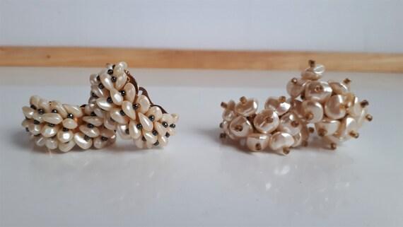 Faux pearl cluster hoop earrings, Statement vinta… - image 5
