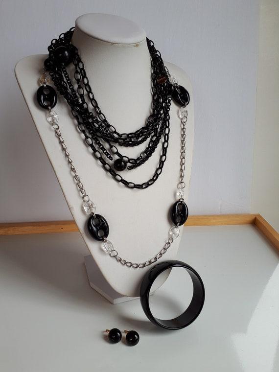 Lot set 4 pcs black resin plastic silver metal jew