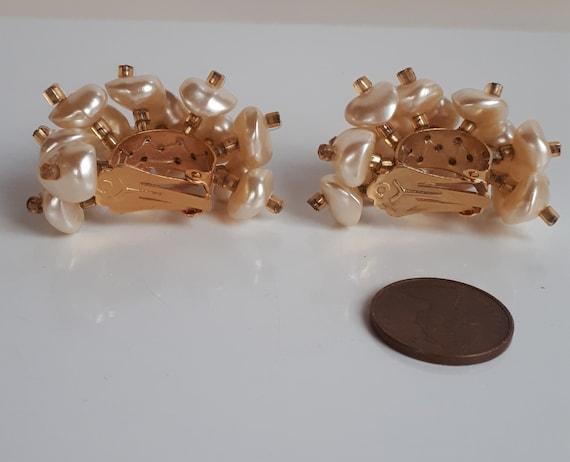 Faux pearl cluster hoop earrings, Statement vinta… - image 3
