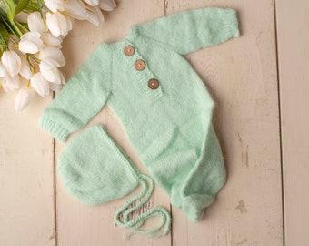 Mint Green Sidney Sleeper Fuzzy Knitted Footed  Newborn Romper for Newborn Photography, Mint Green Soft Knit Romper and Bonnet Newborn