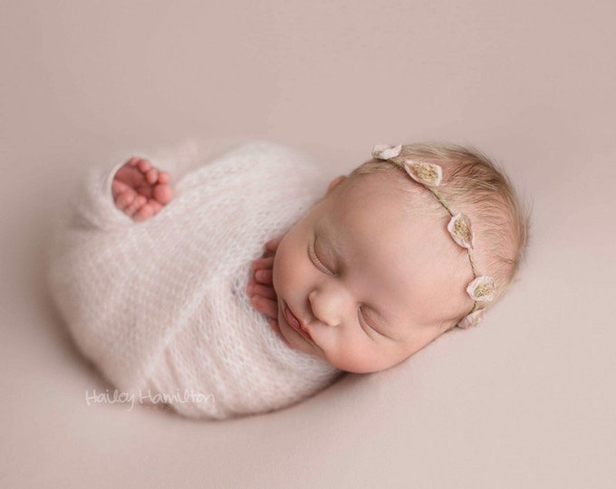 Pink Rustic Newborn Tieback/ Newborn Headband/ Newborn Photo Prop/ Photo Props/ Newborn Headbands/ Newborn Flower Crown/ Newborn Halo/ RTS